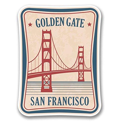 DestinationVinyl 2 x 20cm/200mm Golden Gate Bridge San Francisco Vinyl Selbstklebende Sticker Aufkleber Laptop Reisen Gepäckwagen Cool Zeichen Spaß #6386