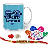 Indigifts Raksha Bandhan Gifts For Brother World's Best Bro Quote Printed Gift Set Of Mug 330 Ml, Crystal Rakhi For Brother, Tika, Chawal & Greeting Card - Rakhi Gifts For Brother, Rakshabandhan Gifts, Rakhi For Brother With Gifts