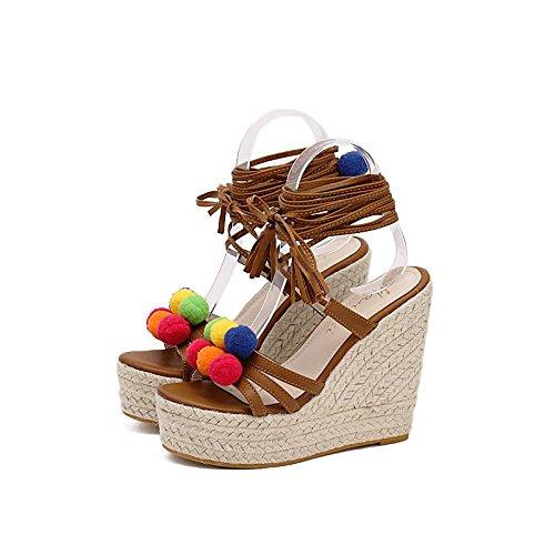 LvYuan-mxx Sandales romaines pour femmes / Printemps été automne / Décontracté Simple / Cool bottes / chanvre cordage cordage Talons hauts ouverts orteil / Bureau & Carrière Robe / paille chaussures BROWN-37