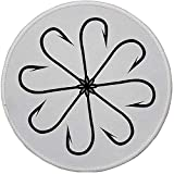 Gummi Runde Mauspad, Angeln Dekor, Blume geformt Artisan Stahl Multi Haken Gaff in Reihe Neue Nadel Gerät Abbildung, BWeiß fehlt