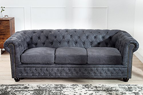 Edles Chesterfield 3er Sofa Grau im Antik Look