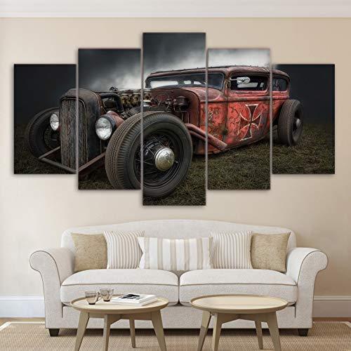 alicefen Malleinwand Wand Kunst Bild Ohne Rahmen Zu Hause Dekoration Wohnzimmer 5 Stück Antike Hot Rod Oldtimer - Poster Drucken Pengda