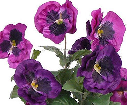 künstliche Stiefmütterchen Busch mit 7 violetten Blüten, 33cm – künstliche Blumen Kunstblumen Dekoblumen Kunstpflanzen