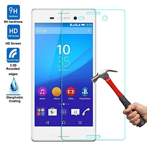 Tempered Glass Screen Protector Guard for Sony Xperia M4 Aqua Dual Clear Glass Protective 9H Hardness  available at amazon for Rs.149