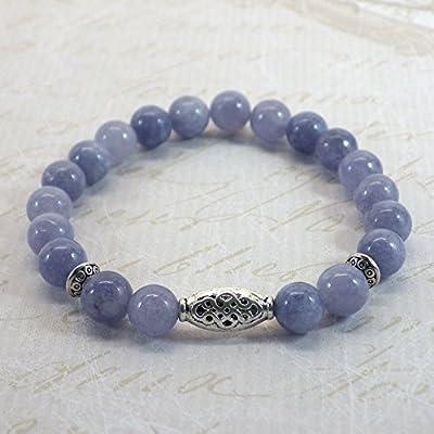Bracelet pour femme Thurcolas ethnique Zen avec perles en Quartz bleu et perles tibétaines en métal argenté