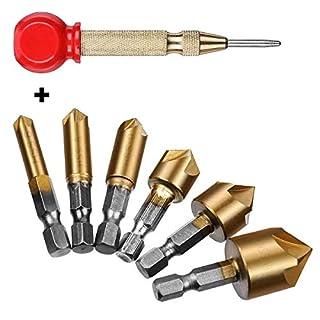 Countersink Drill Bit+Center Punch, Baban Countersink Drill Bit Set 6+1 Pcs 1/4'' Hex Shank HSS 5 Flute Countersink 90 Degree Center Punch Tool Sets for Wood Quick Change Bit, 6/8/9/12/16/19mm