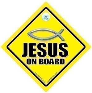 """Jesus à bord, Jésus On Board Motif """"Jesus Christian voiture Motif chrétien du poisson Inscription Christ Religion signe de voiture, voiture, Style, Autocollant bébé à bord, en, Faith Jesus Christ God"""