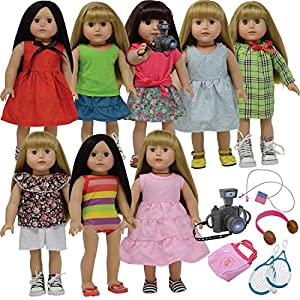 The New York Doll Collection- Dress 45 cm Accessories for That fit American Girl Dolls-Sets of Clothes Summer Wardrobe-adapts to The Doll Camera and Tennis (D376)