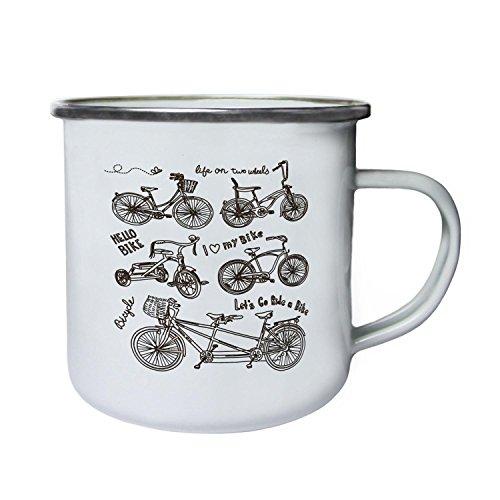 Fahrrad-Tag Fahrräder Liebhaber Neuheit lustig Retro, Zinn, Emaille 10oz/280ml Becher Tasse a462e Emaille-tags
