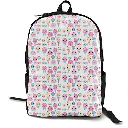 Kawaii Candy Adult Premium Travel Backpack, Water-Resistant College School Bookbag, Sport Daypack, Outdoor Rucksack, Laptop Bag for Men&Women