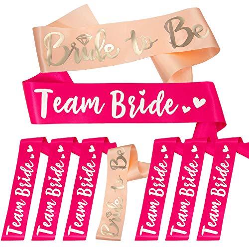 Oblique Unique® Bride to Be + Team Bride Schärpe Set für Junggesellinnenabschied JGA Hochzeit Hen Party in Pink Lachsfarben