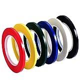 6 Stück 3 mm Breite Grafikschild Tape Grid Kunst Band Markierbänder Whiteboard Gridding Tape Selbstklebeband, 6 Farben