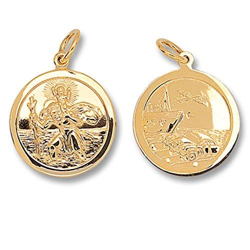 Pour Enfant Or 9carats rond double face St Christophe Pendentif sur un collier de Prince Pays De Galles