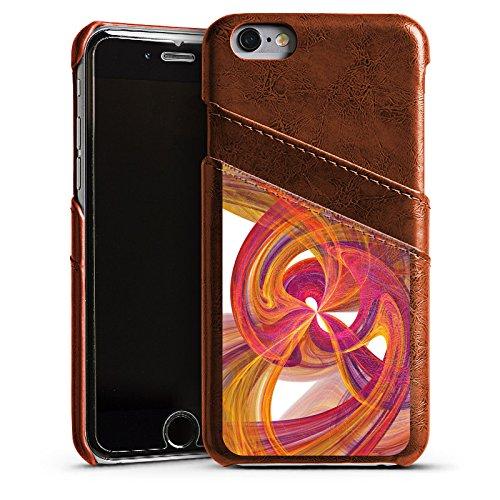 Apple iPhone 5s Housse Étui Protection Coque Spirale Peinture Abstrait Étui en cuir marron