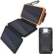Oxsaytee Portable 24000mah Solar Charger with Multifunction Flashlight, 3 Foldable Solar Panels solar Power Ba