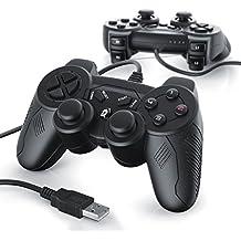 2 x Gamepads USB con cable para PC / ordenador con doble vibración | controlador de mando | Plug & Play | negro