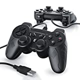 CSL-Computer 2 x Gamepads USB con Cable para PC/Ordenador con Doble...