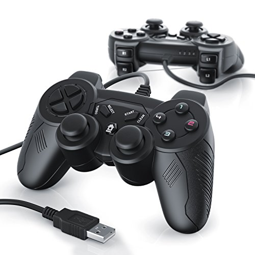2 x Gamepads USB con cable para PC / ordenador con doble vibración |