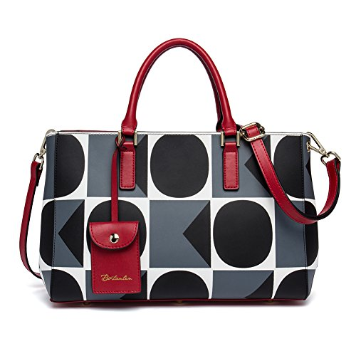 BOSTANTEN Damen Leder Handtasche Umhängetasche Schultertasche Tasche Tote Bag Grau (Designer-handtasche Bag Tote)