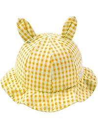 e13060c2a Puseky Sombrero del bebé para niños pequeños Patrón de Tela Escocesa Oreja  de Conejo Protector Solar
