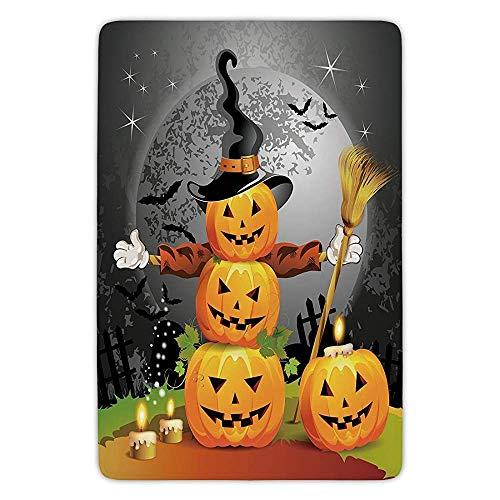 XIAOYI Bathroom Bath Rug Kitchen Floor Mat Carpet,Halloween,Cute Pumpkins Funny Composition Traditional Celebration Witches Hat Broomstick,Multicolor,Flannel Microfiber Non-Slip Soft Absorbent