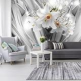 decomonkey | Fototapete Blumen 3D Lilien weiß Abstrakt 300x210 cm XL | Tapete | Wandbild | Wandbild | Bild | Fototapeten | Tapeten | Wandtapete | Wanddeko | Wandtapete | silber