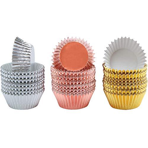 JZZJ 300 Stück Folien-Metallic Cupcake Liner Muffin Papierförmchen Backförmchen, Gold, Silber und Roségold