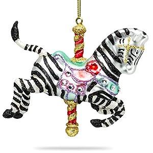 SIKORA BS457 Karussell Zebra Christbaumschmuck Glas Figur Weihnachtsbaum Anhänger
