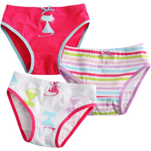 Vaenait Baby 2-7 Years Kids Girls Underwear Briefs 3-Pack Set Cats Pop M