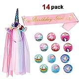 Howaf Unicorn Birthday Set, Unicorn Horn Headband With Rainbow Veil, 12 Unicorn Button Badges, Birthday Girl Sash For Girls Baby Kids Unicorn Birthday Party Supplies, Party Decoration