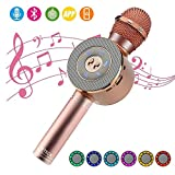 Microfono Karaoke Bluetooth, BETECK 4-in-1 Bluetooth Karaoke Player Portatile per PC, laptop, iPhone, iPad, smartphone Android, Karaoke Portatile (Oro Rosa)