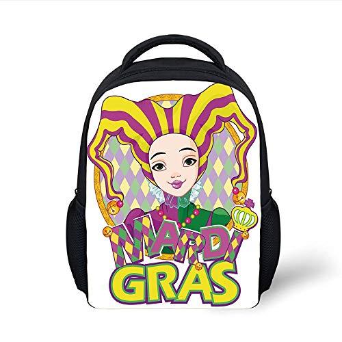 Kids School Backpack Mardi Gras,Carnival Girl in Harlequin Costume and Hat Cartoon Fat Tuesday Theme,Yellow Purple Green Plain Bookbag Travel Daypack