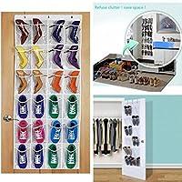 Yesiidor 24-Pocket Over-the-Door Organizer Shoe Organizer Hanging Shelf Shoe Rack Storage Stand Organiser Holder