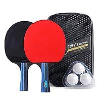 Walmeck Table Tennis Racket Set 2 Ping Pong Paddles and 3 Ping Pong Balls Storage Pouch