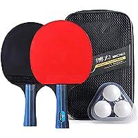Lixada Raqueta de Tenis de Mesa Kit 2 Paletas de Ping Pong y 3 Pelotas de Ping Pong Bolsa de Almacenamiento