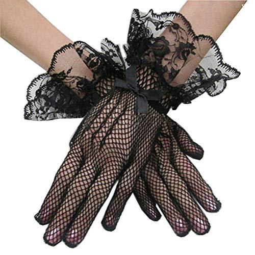 1 Paar Schwarz Vintage Style Spandex Spitze Blume Krempe Bowknot Mesh Handschuhe Hochzeit Bühne Cosplay Kostüm Handschuhe Fäustlinge für Party Stage Dress Up