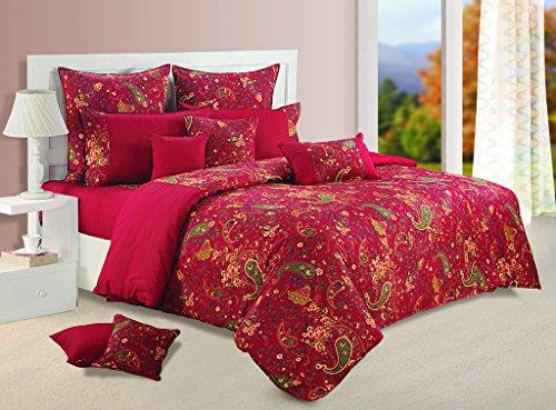 Yuga 8 Stück im Beutel gesetzt Maroon bedruckten Baumwollmaterial Tröster Bettwäsche-Set Bett -