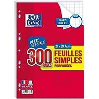 Oxford - Feuilles Simples Perforées Blanches - Format A4-21 x 29.7 cm - Grands Carreaux Seyes - Lot de 300 Pages