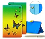 Herbests Cover Samsung Galaxy Tab 4 8.0 T330 T335, Flip Stand Cover Case Libro Disegni Custodia in Pelle Elegante Creativo Pittura Colorate Pelle Copertura Ultra Slim Fit PU Leather Tablet Cover