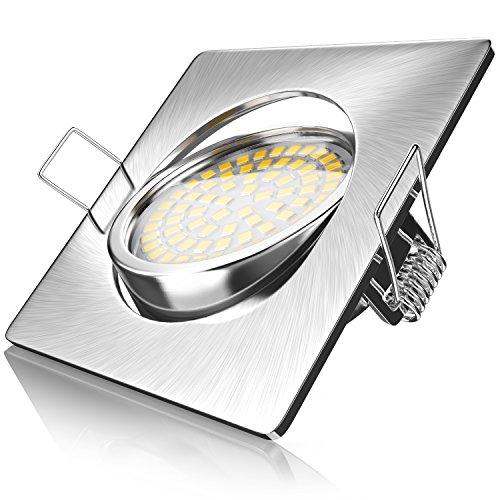 Brandson - Ultra Flacher LED Deckenspot eckig warmweiß schwenkbar | Einbauleuchte | Einbauspot Deckenstrahler | Slim Aluminium Druckgussrahmen Edelstahl Optik | Abstrahlwinkel: 120°