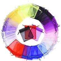 Mudder Multicolore Organza Sacchetti Regalo Buste di Nozze Favore per Gioielli 100 Pezzi, Piccole Dimensioni