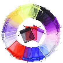 Mudder Bolsas de Organza de Regalo para Boda Favores y Joyas, 100 Piezas, Tamaño Medio, Colores Variados