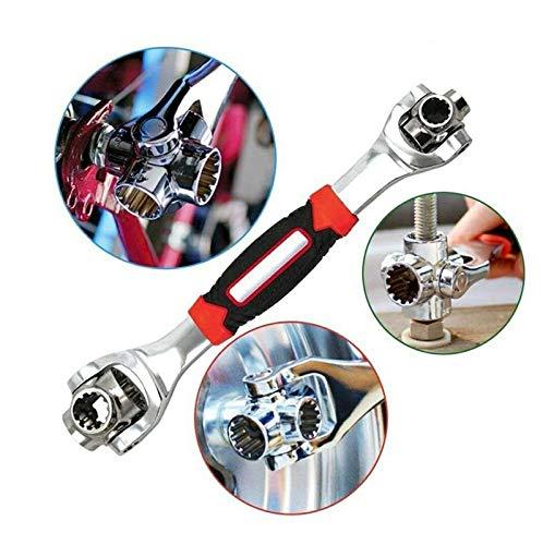 Schlüssel 48 in 1 TOOLS Steckschlüssel-funktioniert Ratschenringschlüssel Ratschenschlüssel Knarrenschlüssel Ringschlüssel mit Spline-Schrauben 360 Grad 6-Kant Universal Möbel Auto Reparatur (Rot)