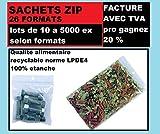Confezione da 100sacchetti 40x 60mm trasparente con zip borsa bag-zip e alimentare 50U compatibile congelatore marca Univers Chart, SKU 01–100deducibile IVA Fattura