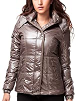 24brands - Damen Winter Jacken Kurze Jacke mit Kapuze Steppmantel Glanzjacke Winterjacke - 2333