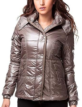 24brands - Damen Winter Jacken Kurze Jacke mit Kapuze Steppmantel Glanzjacke Winterjacke - 2333, Größe:36;Farbe:Olive