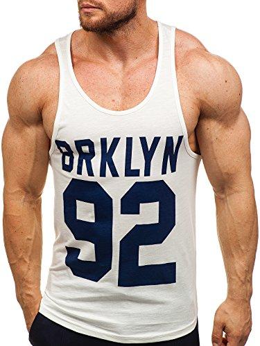 BOLF Herren Tank Top T-Shirt Muskelshirt Achselshirt Sport Style Breezy 9078 Weiß L [3C3]
