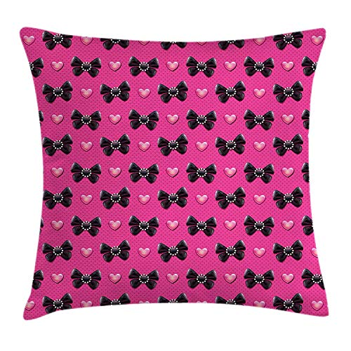 WITHY Pearls Throw Pillow Cushion Cover, Bow Ties with Hearts Feminine Love Valentines Day Romantic Theme Dotted Background, Decorative Square Accent Pillow Case, 18 X 18 inches, Pink Black