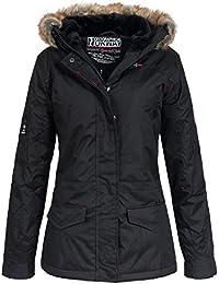 Geographical Norway Atlas Lady– Chaqueta de invierno para mujer, con capucha, de piel sintética