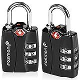 TSA aprobado candados para el equipaje, Indicador de alerta abierta de Fosmon Códigos de candado de combinación de 3 dígitos para la bolsa de viaje, maletín, taquillas, gimnasio, cerraduras de bicicletas u otros (2 paquete)